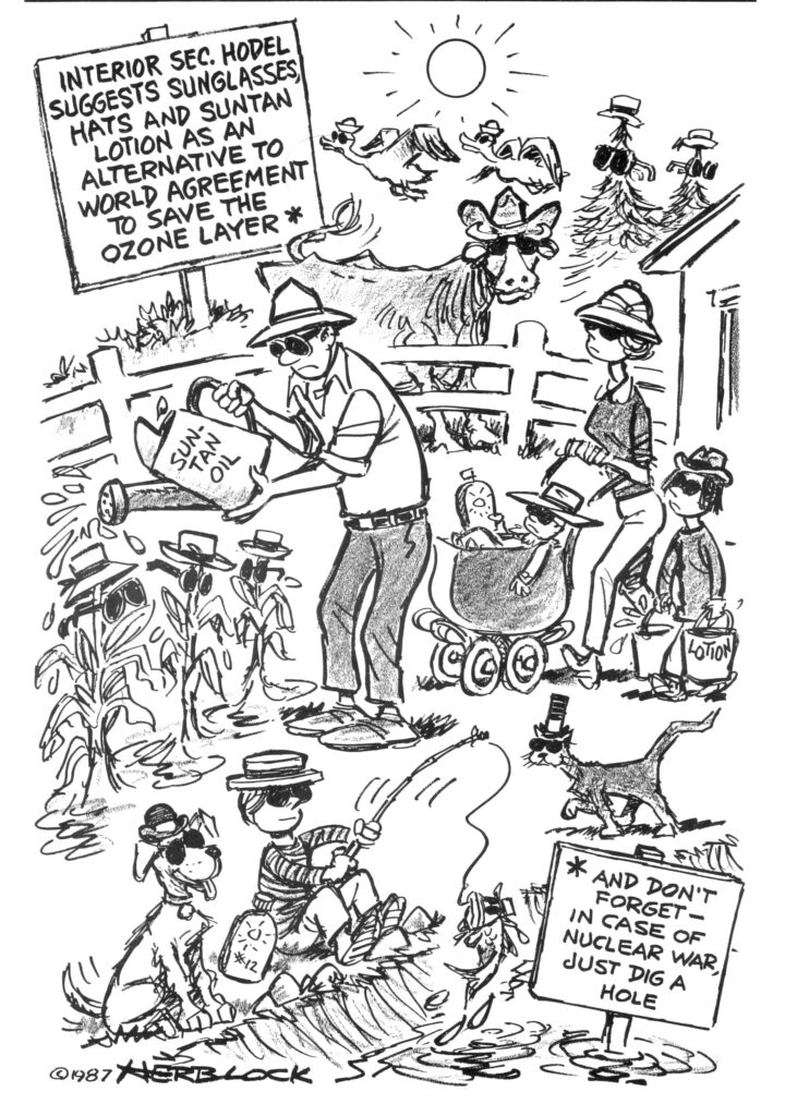 Herblock Cartoon lampooning the ozone policy of Reagan Administration
